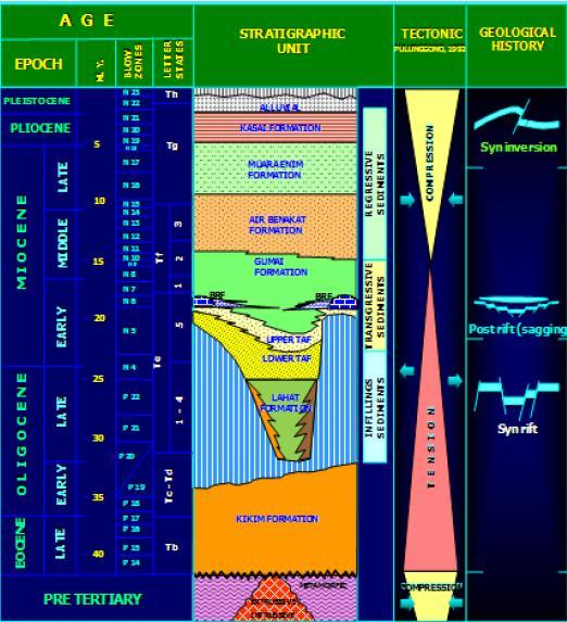 Gambar 1. Kolom stratigrafi Cekungan Sumatra Selatan dan Sekitarnya (Guide Book Field Trip South Sumatra Pertamina EP, 2011)