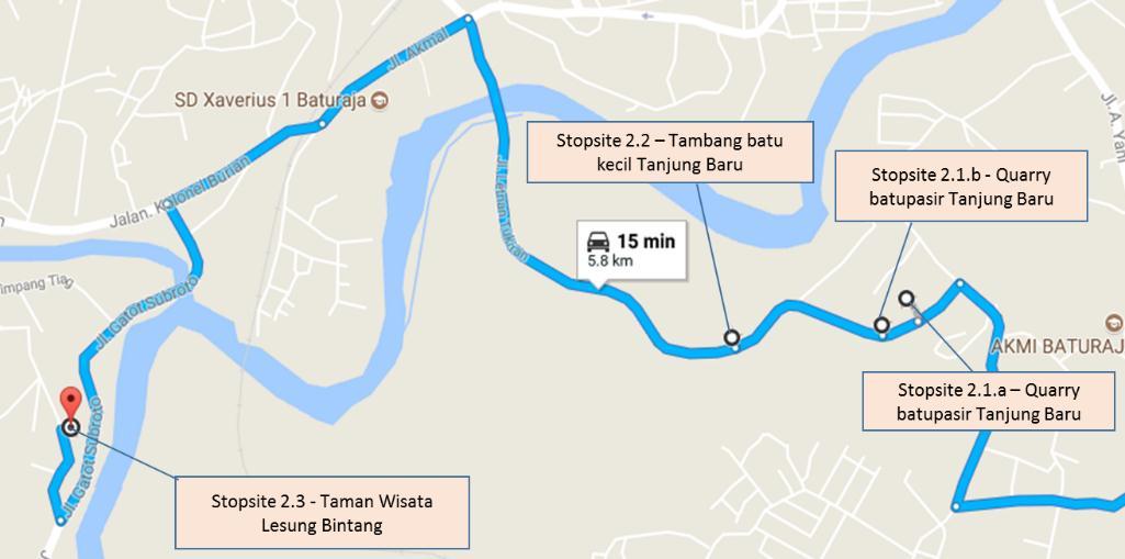 Gambar 3b. Peta lokasi stopsite pada daerah Baturaja (kiri)
