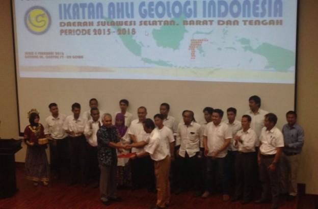 Pengurus Ikatan Ahli Geologi Indonesia (IAGI) Sulawesi Selatan, Barat, dan Tengah (Sultanbarteng) periode 2015-2018 dilantik di Fakultas Teknik Unhas, Sungguminasa, Gowa, Senin (8/2/2016)